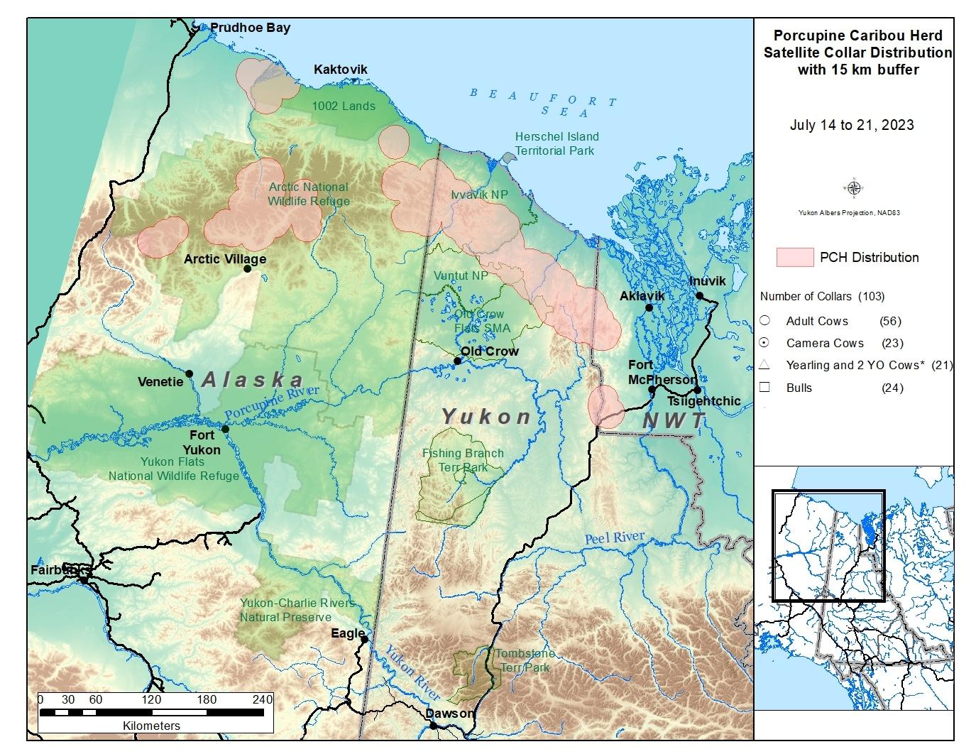 Porcupine Caribou collar map